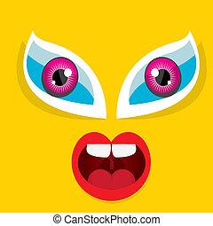 Vector Cartoon orange monster face - Cartoon cute friendly...