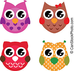 Vector cartoon owls set isolated on white