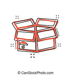 Vector cartoon packaging box icon in comic style. Shipping pack sign illustration pictogram. Box business splash effect concept.