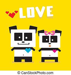 Vector cartoon Panda couple in love. - Panda bear couple....