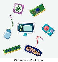 Vector cartoon patch badges set.