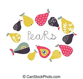 Vector cartoon pears collection