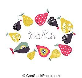 Vector cartoon pears collection