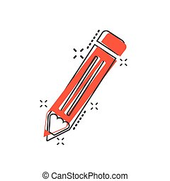 Vector cartoon pencil icon in comic style. Pen sign illustration pictogram. Pencil business splash effect concept.