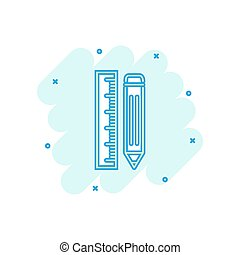 Vector cartoon pencil with ruler icon in comic style. Ruler meter sign illustration pictogram. Office gear business splash effect concept.