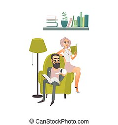 vector cartoon people reading books scene