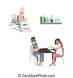 vector cartoon people reading books scenes