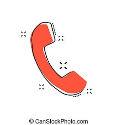 Vector cartoon phone icon in comic style. Mobile sign illustration pictogram. Phone business splash effect concept.
