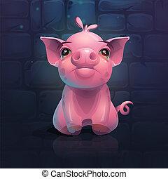 Vector cartoon pig on a brick wall background.