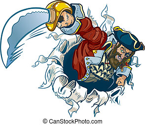 A vector cartoon pirate rips out of the background, brandishing a sword.