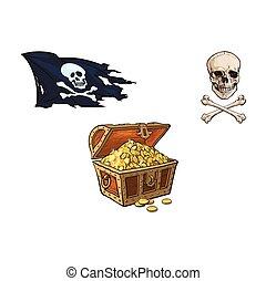 vector cartoon pirates symbols set isolated