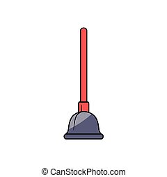 vector cartoon plunger with red handle