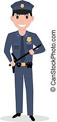 Vector cartoon policeman in uniform police baton