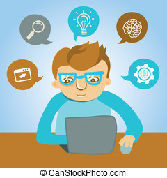 Vector cartoon programmer working on his laptop