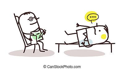 cartoon psychoanalyst with patient - vector cartoon...