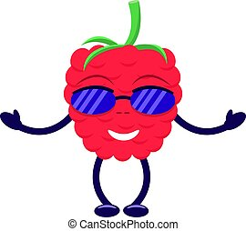 Vector cartoon raspberry sunglasses pens and legs