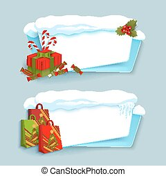 vector cartoon realistic winter banner set - vector cartoon...