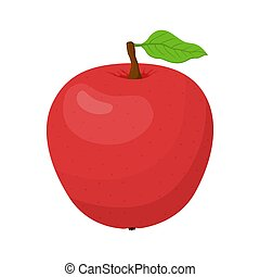 Vector cartoon red apple, tasty vegetarian fruit