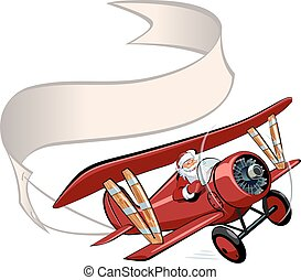 Cartoon retro Christmas airplane with banner - Vector...