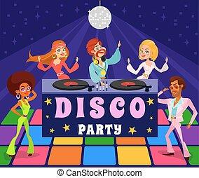 67812c68e2e7 Vector cartoon retro illustration of a man and a woman in a disco club.