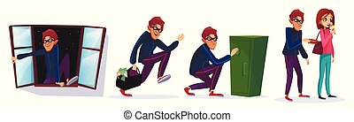 Vector cartoon robber, thief characters set