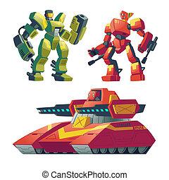 Vector cartoon robot guards, tank. Battle androids