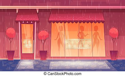 Vector cartoon round-the-clock boutique with illuminated shop-window