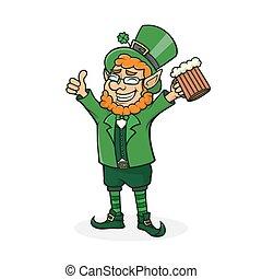 Vector cartoon Saint Patrick. Symbol of National Irish holiday.