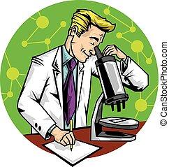 Vector cartoon scientist in a lab