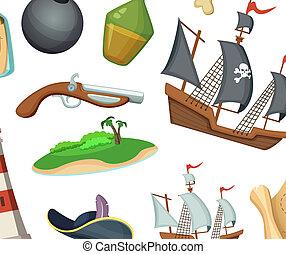 Vector cartoon sea pirates background