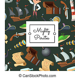 Vector cartoon sea pirates background with place for text illustration