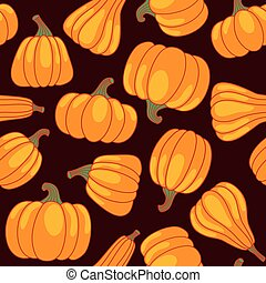 Vector cartoon seamless pattern with pumpkin