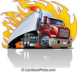 Vector Cartoon Semi Truck. One-click repaint - Vector...