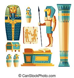 Vector cartoon set of ancient Egypt objects