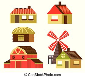 Vector cartoon set of country houses