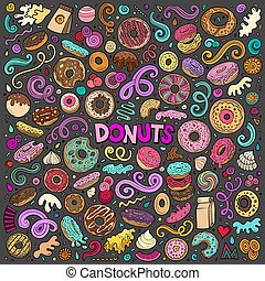 Vector cartoon set of Donuts objects and symbols