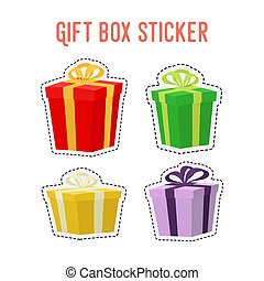 Vector cartoon set of gift stickers, adhesive paper