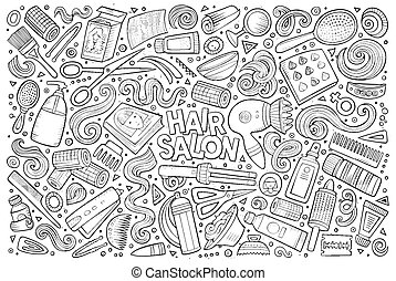 Vector cartoon set of Hair salon theme objects