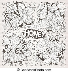 Vector cartoon set of Honey theme doodles design elements