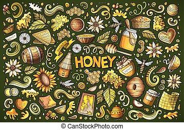 Vector cartoon set of Honey theme objects