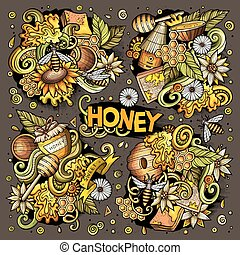 Vector cartoon set of Honey theme objects