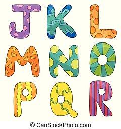 Vector cartoon set of isolated ocartoon style, alphabet letters