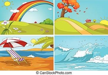 Vector cartoon set of landscapes backgrounds.