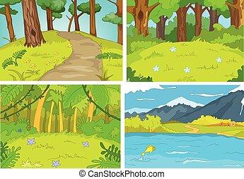 Vector cartoon set of summer backgrounds.