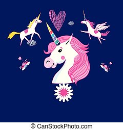 vector cartoon set of unicorns and fabulous objects.