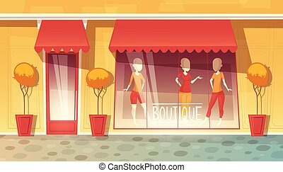 Vector cartoon shop-window of boutique, clothing market