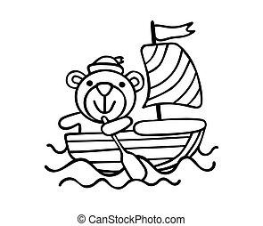 Vector Cartoon Silhouette of sailor bear