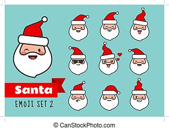 Vector cartoon simple flat line Santa Claus emoji set. Cute and funny different emotions Santa face stickers avatar portrait collection. Festive Christmas theme character design elements isolated.
