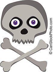 Vector cartoon skeleton scull with purple angry eyes isolated on white background.