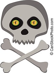 Vector cartoon skeleton scull with yellow angry eyes isolated on white background.